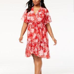 NEW INC PLUS SIZE 1X FAUX WRAP KIMONO DRESS FLORAL